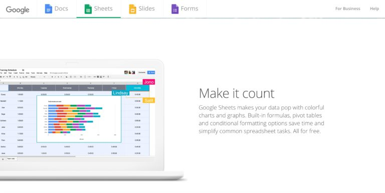 Google sheets is a simple collaborative alternative to Excel's spreadsheets