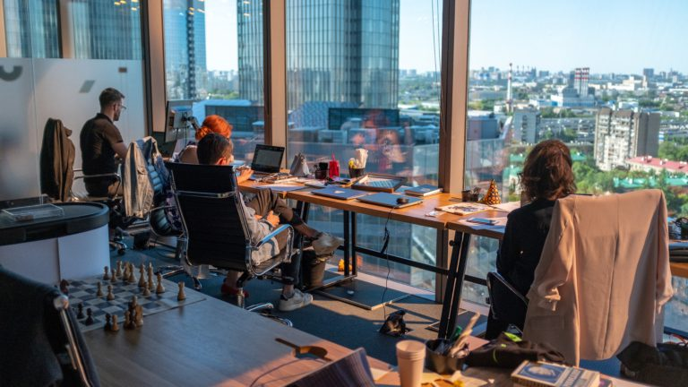 A hybrid work model is perfect for companies who want to maintain a flexible office while allowing for workers to gather and work together,
