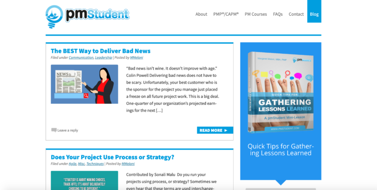 Students and seasoned project managers can all benefit from this project management blog.